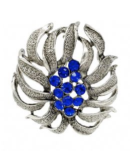 Unique  Blue  Crystal  Flower Shaped  Brooch / Pin